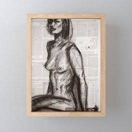 Rain Shower (Regenschauer) Charcoal Newspaper Figure Drawing Framed Mini Art Print