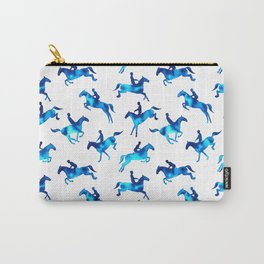 Watercolor Showjumping Horses (Blue) Carry-All Pouch