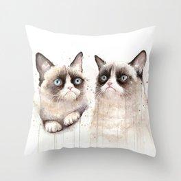 Grumpy Watercolor Cats Throw Pillow