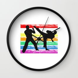 The Fighter's Sparring Tshirt Design Silhouettes sparring light Wall Clock