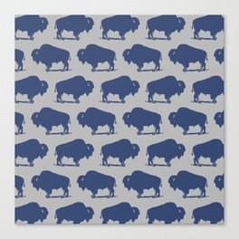 Buffalo Bison Pattern Blue and Gray Canvas Print