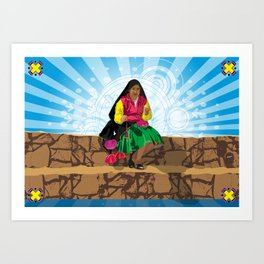 Paisana in Titicaca Lake, Puno, Perú Art Print