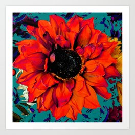 Orange Sunflower & Teal Contemporary Abstract Art Print