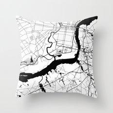 Philadelphia Minimal Map Throw Pillow