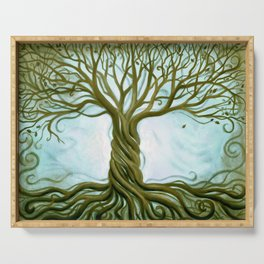 Blue and Brown Swirly Tree of Life by Renee Womack Serving Tray