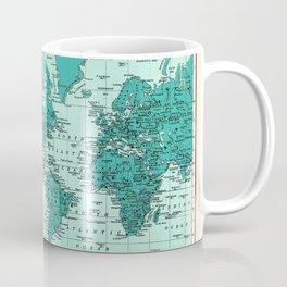 World Map in Teal Coffee Mug