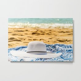 Travel Photography, White Beach Hat And Sunglasses, Summer Vacation, Holiday Time, Beauty Accessory Metal Print