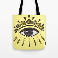 kenzo Tote Bags featuring Kenzo eye yellow by cvrcak