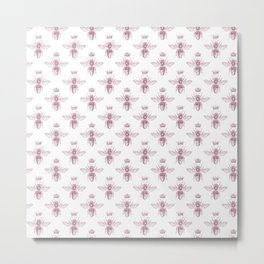 Pink Queen Bee Pattern Metal Print