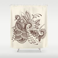 henna Shower Curtains featuring Henna Peacock by Brady Dempsey