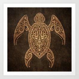 Intricate Vintage and Cracked Sea Turtle Art Print