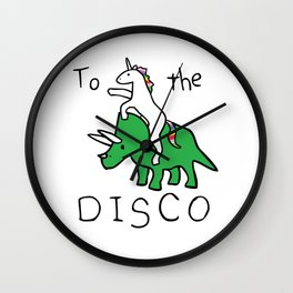 To The Disco (Unicorn Riding Triceratops) Wall Clock