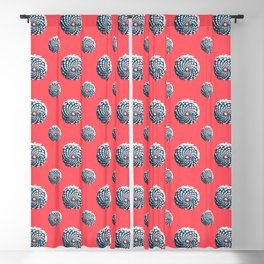 pine cone pattern in coral, aqua and indigo Blackout Curtain