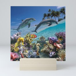 Coral Reef and Dolphins Mini Art Print