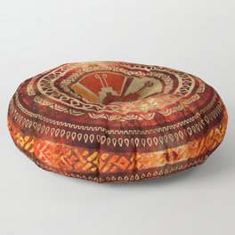 Hunab Ku Mayan symbol Burnt Orange and Gold Floor Pillow