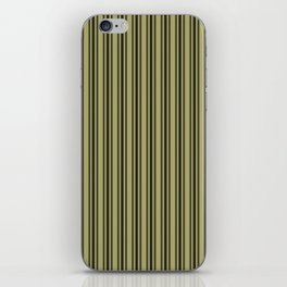 Large French Khaki Mattress Ticking Black Double Stripes iPhone Skin