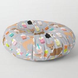 Chihuahua bubble tea kawaii boba tea cute dog breed pattern dog art chihuahuas Floor Pillow