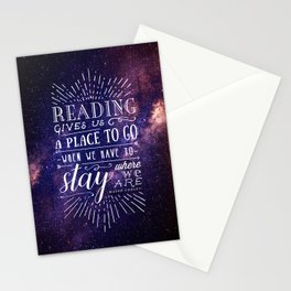 Reading gives us a place to go Stationery Cards