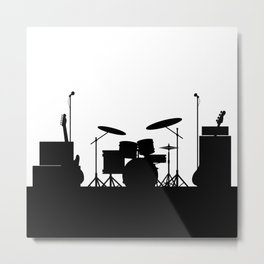 Rock Band Equipment Silhouette Metal Print