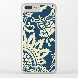 damask in white and blue vintage Clear iPhone Case
