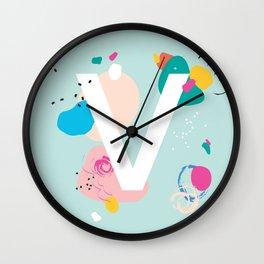 V Monogram Wall Clock
