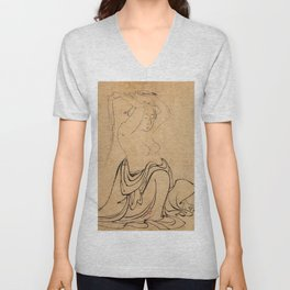 Hokusai, a woman combs her hair -manga, japan,hokusai,japanese,北斎,ミュージシャン Unisex V-Neck