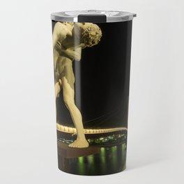 Lyon Bridge Statue by night Travel Mug