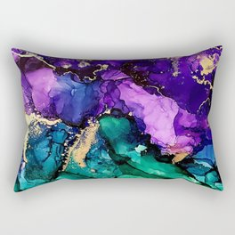 Mardi Gras Alcohol Ink Artwork Rectangular Pillow
