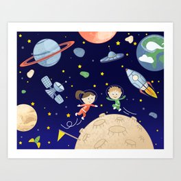 Space kids astronauts planets asteroids and spaceships Art Print