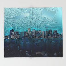 boston city skyline Throw Blanket