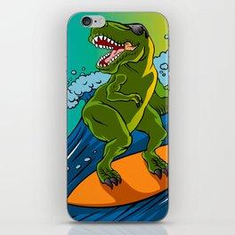 Cartoon illustration of a dinosaur surfing. iPhone Skin