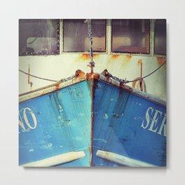 old blue boat Metal Print