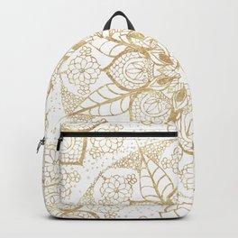 Stylish boho hand drawn golden mandala Backpack