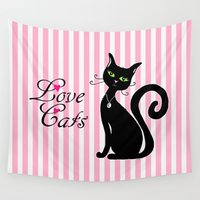 a lot of cats Wall Tapestries featuring Love Cats by Cat Attack