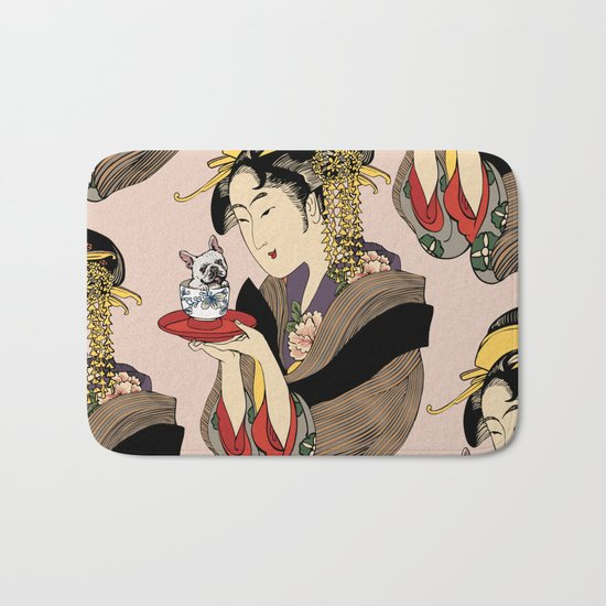Tea time with Frenchie Bath Mat