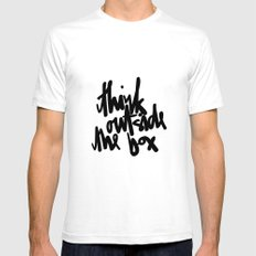 Think Outside The Box Black-White Typography SMALL White Mens Fitted Tee