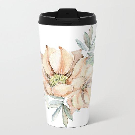Coral Desert Roses Metal Travel Mug