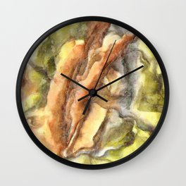 Leaves and Petals Autumn Abstract Watercolor Wall Clock