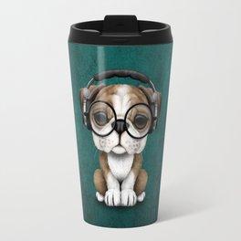 English Bulldog Puppy Dj Wearing Headphones and Glasses on Blue Travel Mug