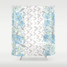 Gray arrows and blue flowers Shower Curtain