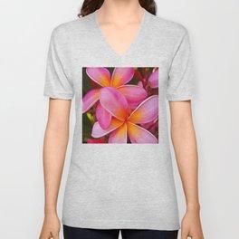 Hawaiian Tropical Passionate Pink Plumeria Island Flowers Unisex V-Neck