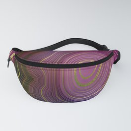 Pink-Magenta Swirl Abstract With Periwinkle & Gold-Hue Accents Fanny Pack