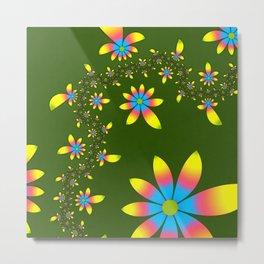 Green Floral Dance Metal Print