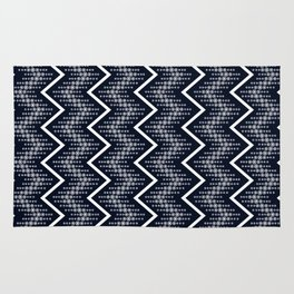 Dark Blue & White Zigzag Pattern Design Rug
