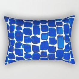 Brick Stroke Blue Rectangular Pillow
