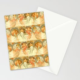 """Alphonse Mucha """"The Arts: Music, Poetry, Painting, Dance (series)"""" Stationery Cards"""