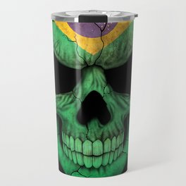 Dark Skull with Flag of Brazil Travel Mug
