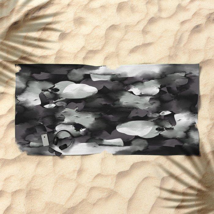 Raw Paint 2 - Black And White Beach Towel