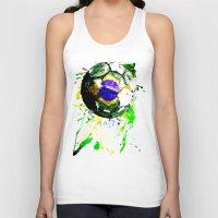 brazil Tank Tops featuring football Brazil by seb mcnulty