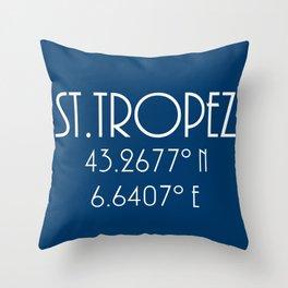 St. Tropez Latitude Longitude Throw Pillow